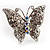 Silver Tone Clear Crystal Butterfly Ring - view 13