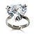 Clear Crystal Heart Ring - view 6