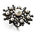 Large Snowflake Simulated Pearl Cocktail Ring (Black Tone) - view 7