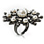 Large Snowflake Simulated Pearl Cocktail Ring (Black Tone) - view 6
