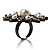 Large Snowflake Simulated Pearl Cocktail Ring (Black Tone) - view 3