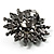 Large Snowflake Simulated Pearl Cocktail Ring (Black Tone) - view 5