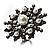 Large Snowflake Simulated Pearl Cocktail Ring (Black Tone)
