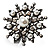 Large Snowflake Simulated Pearl Cocktail Ring (Black Tone) - view 8