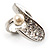 Crystal Curve Faux Pearl Rhodium Plated Ring - view 8