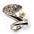 Crystal Curve Faux Pearl Rhodium Plated Ring