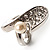 Crystal Curve Faux Pearl Rhodium Plated Ring - view 6