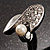 Crystal Curve Faux Pearl Rhodium Plated Ring - view 4