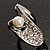 Crystal Curve Faux Pearl Rhodium Plated Ring - view 2