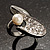 Crystal Curve Faux Pearl Rhodium Plated Ring - view 3
