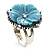 Antique Silver Pale Blue Flower Ring - view 8