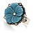 Antique Silver Pale Blue Flower Ring - view 5