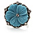 Antique Silver Pale Blue Flower Ring - view 4