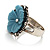 Antique Silver Pale Blue Flower Ring - view 9