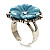 Antique Silver Pale Blue Flower Ring - view 10
