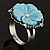 Antique Silver Pale Blue Flower Ring - view 11