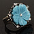 Antique Silver Pale Blue Flower Ring - view 2