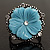 Antique Silver Pale Blue Flower Ring - view 3