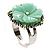 Antique Silver Pale Green Flower Ring - view 2