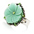 Antique Silver Pale Green Flower Ring - view 4