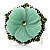 Antique Silver Pale Green Flower Ring - view 7