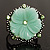 Antique Silver Pale Green Flower Ring - view 3