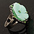Antique Silver Pale Green Flower Ring - view 8