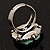 Antique Silver Pale Green Flower Ring - view 6