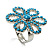Turquoise Coloured Acrylic Daisy Cocktail Ring - view 6