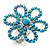 Turquoise Coloured Acrylic Daisy Cocktail Ring - view 2