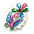Multicolour Enamel Flower And Butterfly Ring - view 5