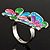 Multicolour Enamel Flower And Butterfly Ring - view 10