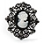 Large Filigree Crystal Cameo Cocktail Ring (Black Tone) - view 3