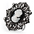 Large Filigree Crystal Cameo Cocktail Ring (Black Tone)
