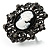 Large Filigree Crystal Cameo Cocktail Ring (Black Tone) - view 5