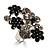 Large Enamel Crystal Floral Cocktail Ring (Black)