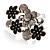 Large Enamel Crystal Floral Cocktail Ring (Black) - view 3