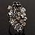 Large Enamel Crystal Floral Cocktail Ring (Black) - view 5