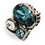 Bold Crystal Cluster Cocktail Ring (Clear&Teal) - view 5