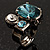 Bold Crystal Cluster Cocktail Ring (Clear&Teal) - view 2