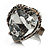 Ice Clear Crystal Contemporary Heart Ring - view 4