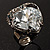 Ice Clear Crystal Contemporary Heart Ring - view 2