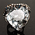 Ice Clear Crystal Contemporary Heart Ring - view 3