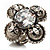 Vintage Four Petal Crystal Flower Cocktail Ring (Clear&Dim Grey) - view 3