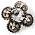 Vintage Four Petal Crystal Flower Cocktail Ring (Clear&Dim Grey) - view 5