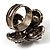 Vintage Four Petal Crystal Flower Cocktail Ring (Clear&Dim Grey) - view 7