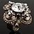 Vintage Four Petal Crystal Flower Cocktail Ring (Clear&Dim Grey) - view 8