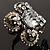 Vintage Four Petal Crystal Flower Cocktail Ring (Clear&Dim Grey) - view 10