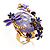 Exquisite Flower And Butterfly Cocktail Ring (Gold And Purple) - view 3
