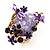 Exquisite Flower And Butterfly Cocktail Ring (Gold And Purple) - view 4